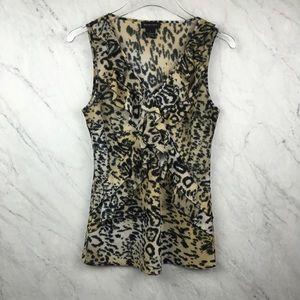 Spense Animal Print Sleeveless Blouse, Size S